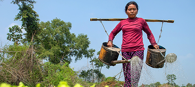 Bou Poch waters the crops with water she gained from a self-created pond. Photo: Oxfam/Kimlong Meng